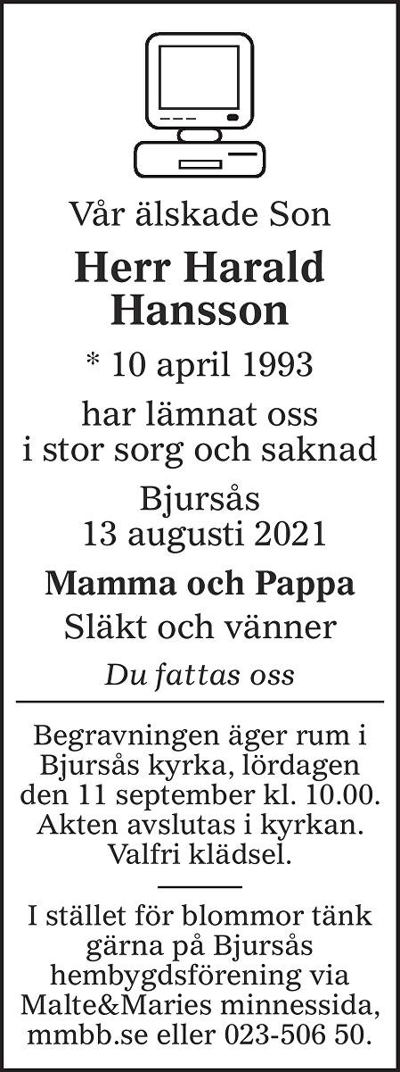 Harald Hansson Death notice