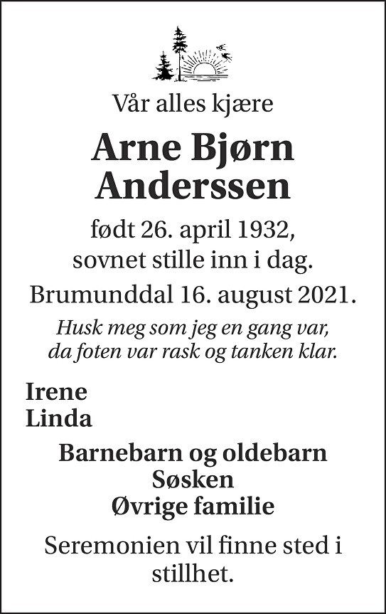 Arne Bjørn Anderssen Dødsannonse