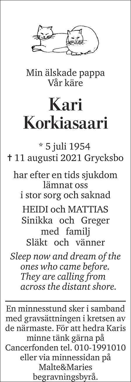 Kari Korkiasaari Death notice
