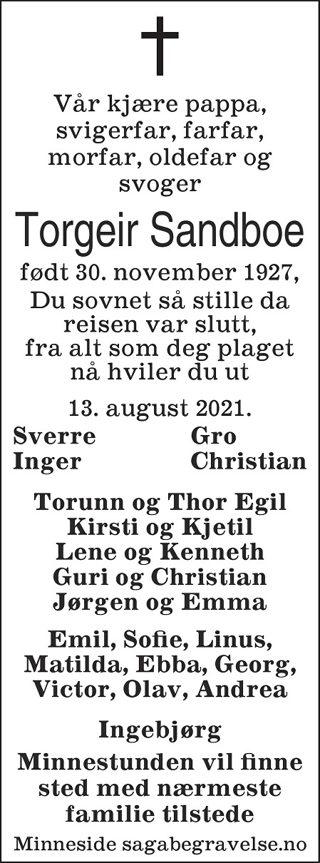 Torgeir Sandboe Dødsannonse