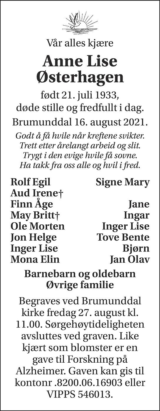 Anne Lise Østerhagen Dødsannonse