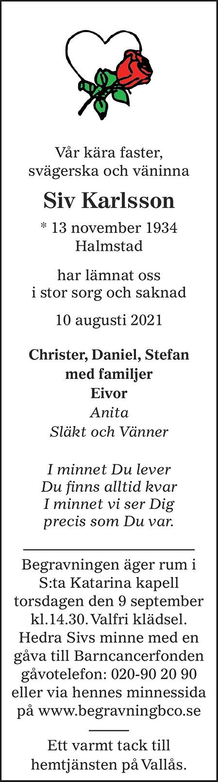 Siv Karlsson Death notice
