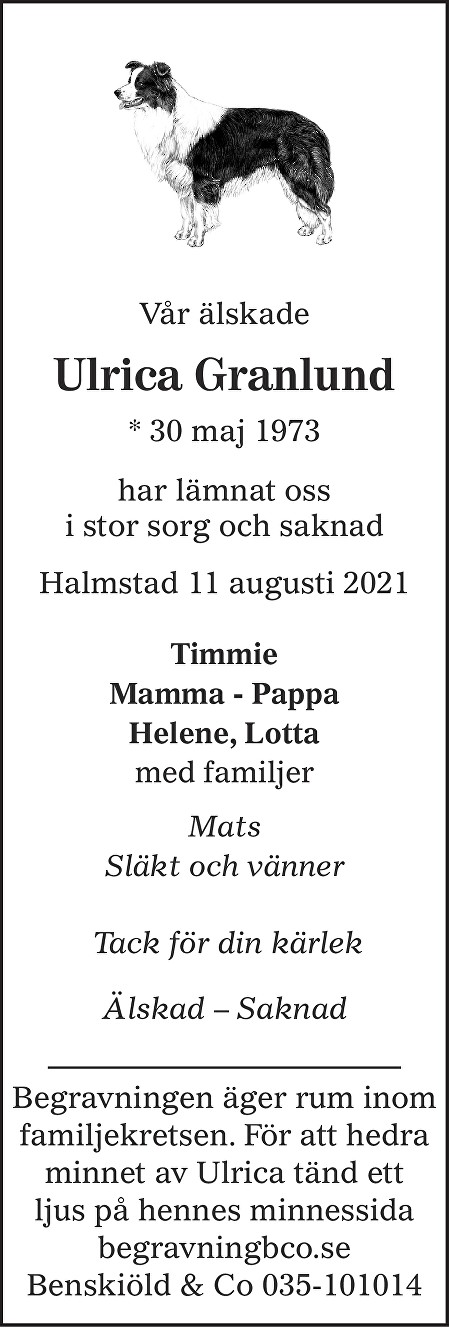 Ulrica Granlund Death notice