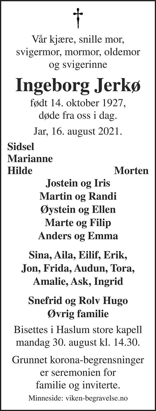 Ingeborg Jerkø Dødsannonse