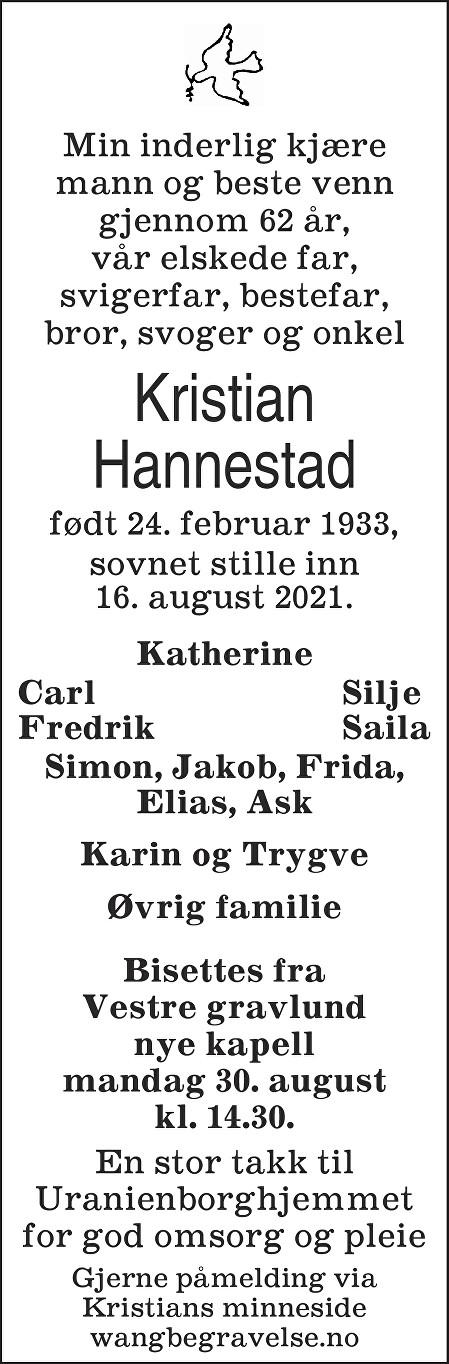 Kristian Hannestad Dødsannonse