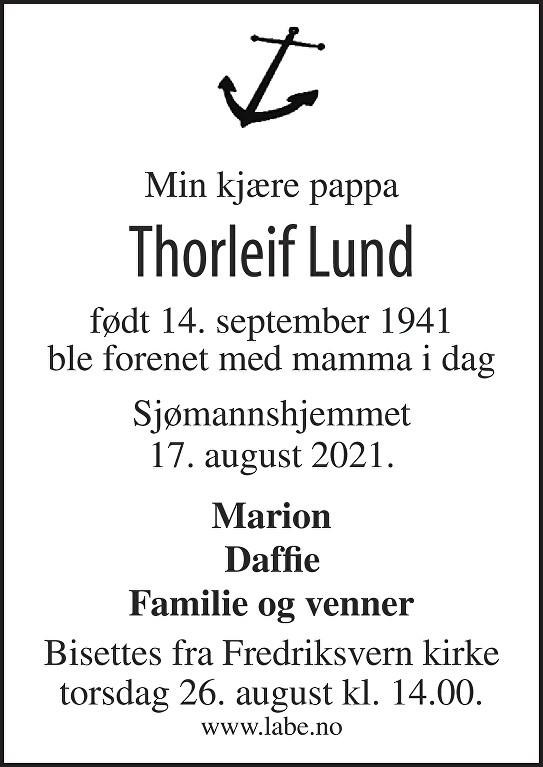 Thorleif Lund Dødsannonse