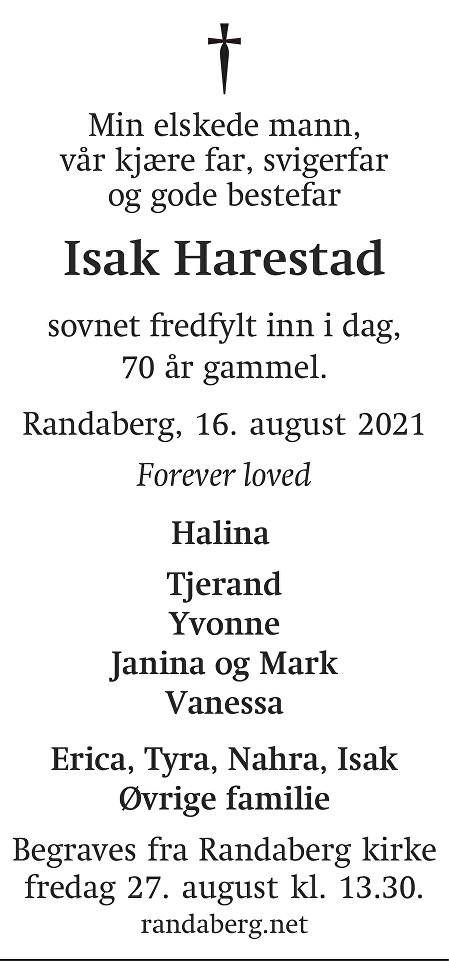 Isak Harestad Dødsannonse