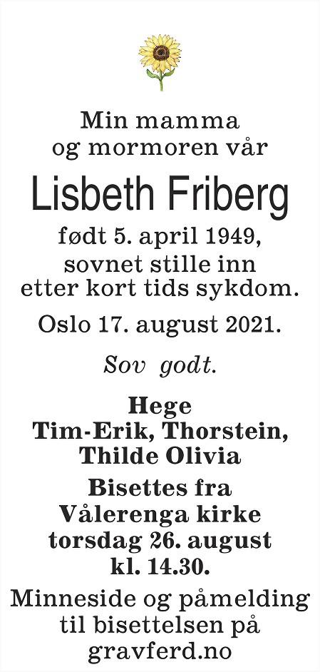 Lisbeth Friberg Dødsannonse
