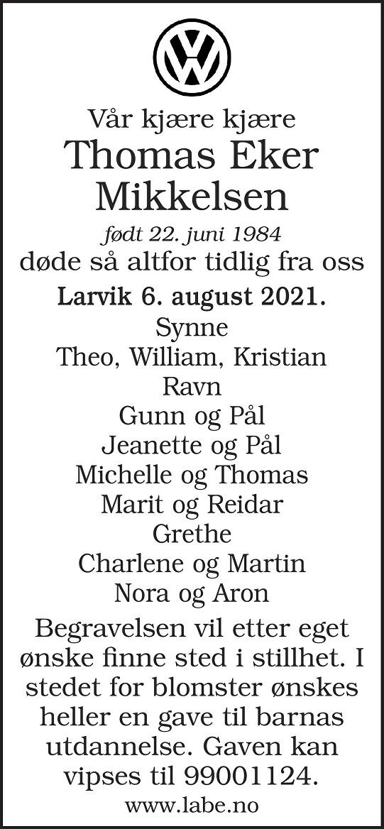 Thomas Eker Mikkelsen Dødsannonse