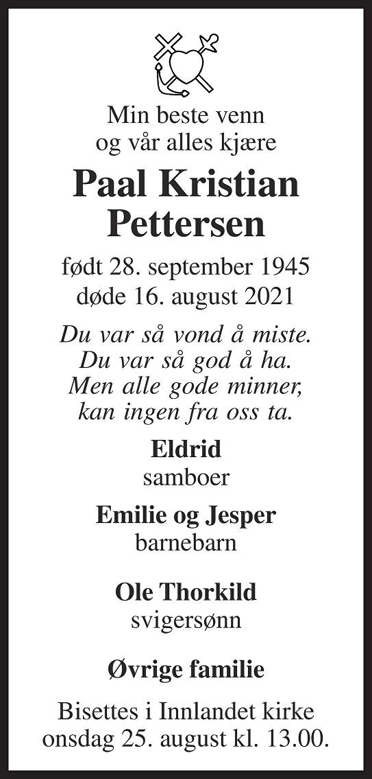 Paal Kristian Pettersen Dødsannonse
