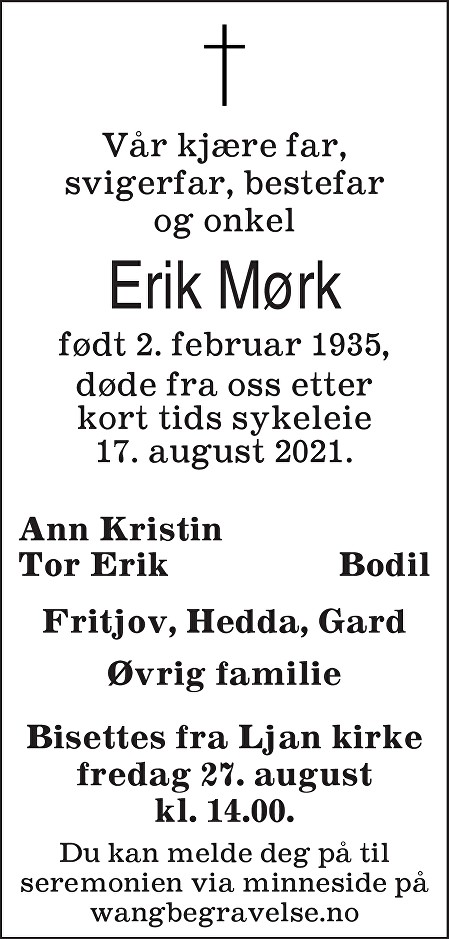Erik Mørk Dødsannonse