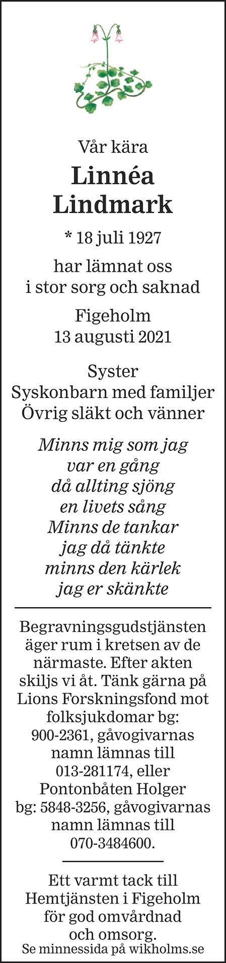 Linnéa Lindmark Death notice