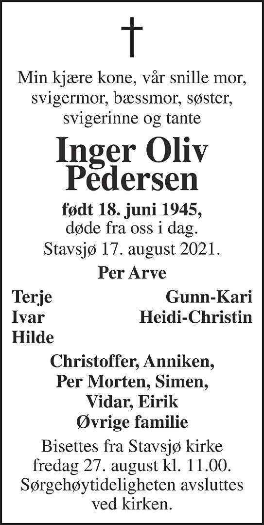 Inger Oliv Pedersen Dødsannonse