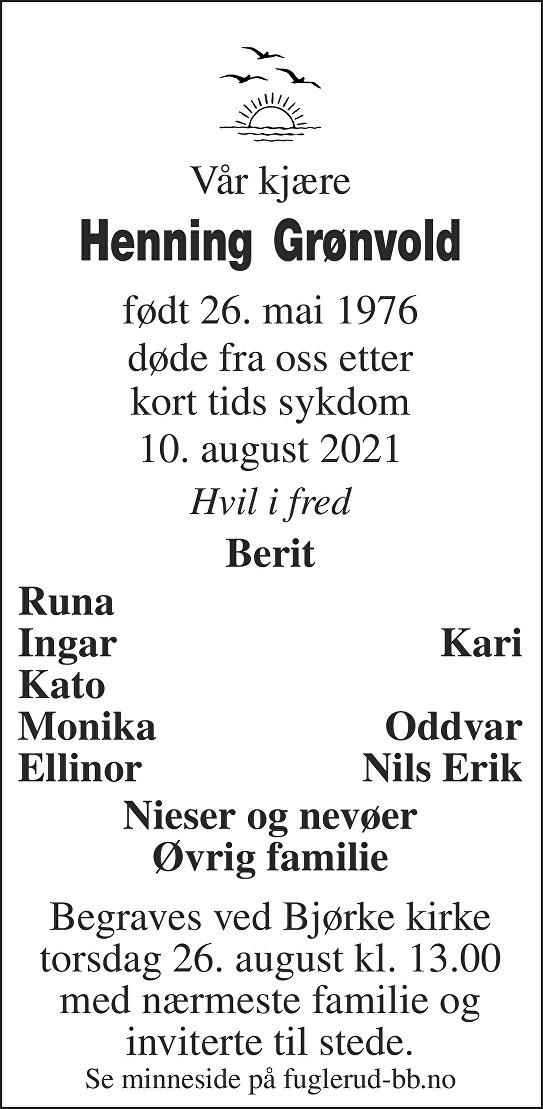 Henning Grønvold Dødsannonse