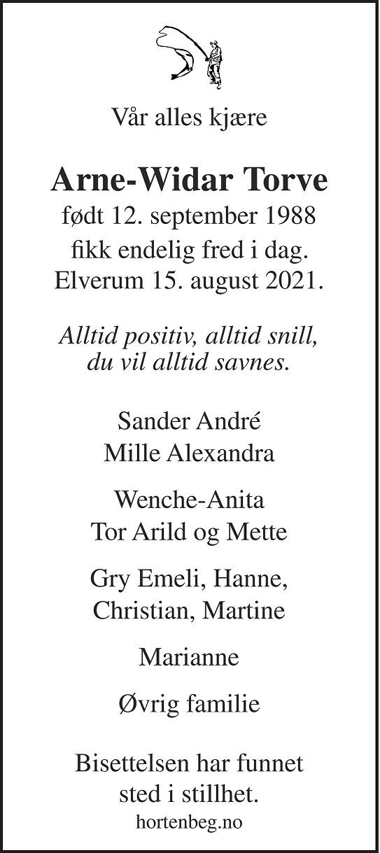 Arne-Widar Torve Dødsannonse