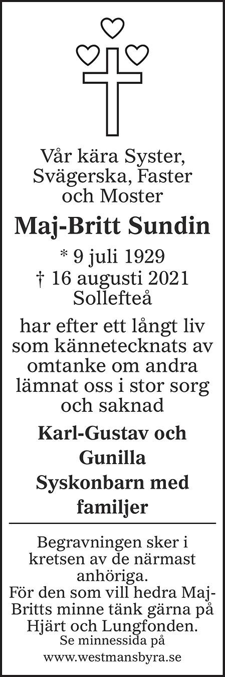 Maj-Britt Sundin Death notice