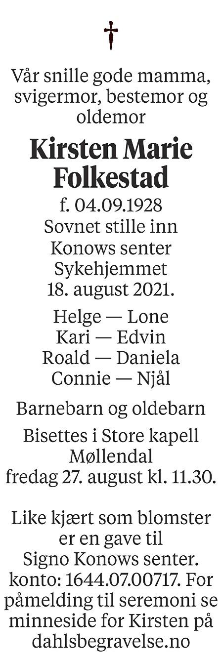 Kirsten Marie Folkestad Dødsannonse