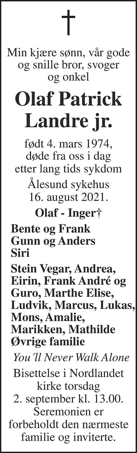 Olaf Patrick Landre jr. Dødsannonse