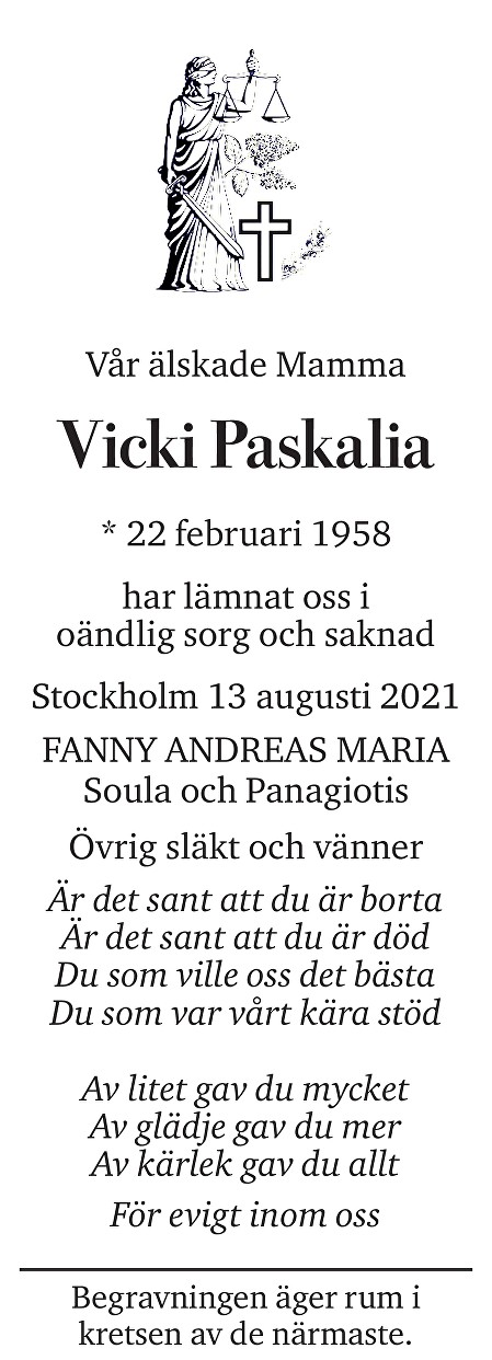 Vicki Paskalia Death notice