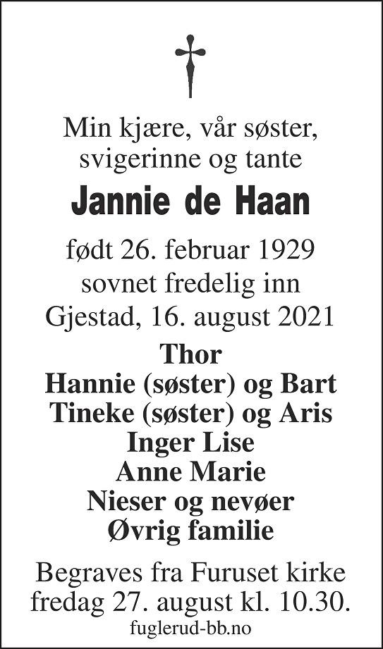 Jannetjen Johanna De Haan Dødsannonse