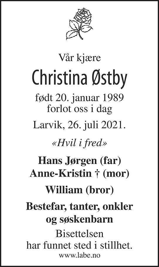 Christina Østby Dødsannonse