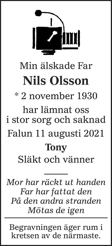 Nils Olsson Death notice