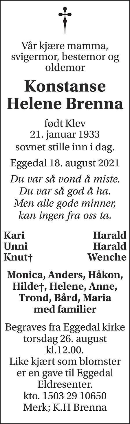Konstanse Helene Brenna Dødsannonse