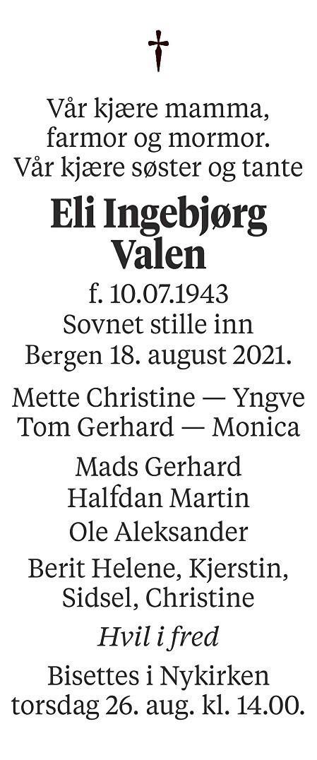 Eli Ingebjørg Valen Dødsannonse