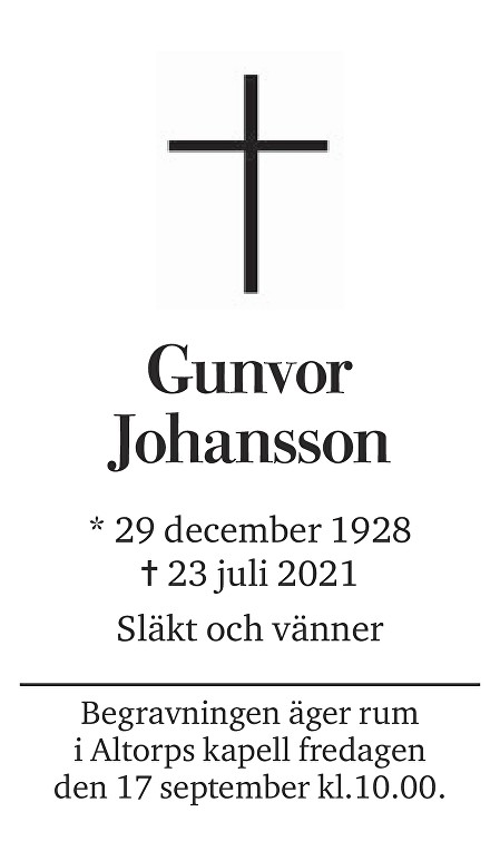 Gunvor Johansson Death notice