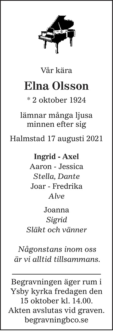 Elna Olsson Death notice