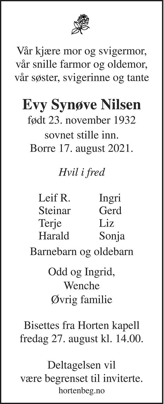 Evy Synøve Nilsen Dødsannonse