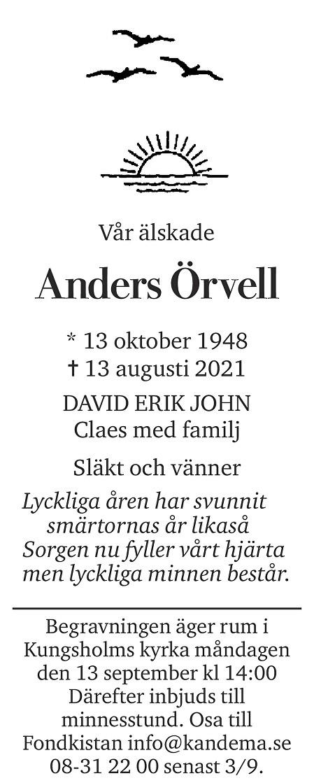 Anders  Örvell Death notice