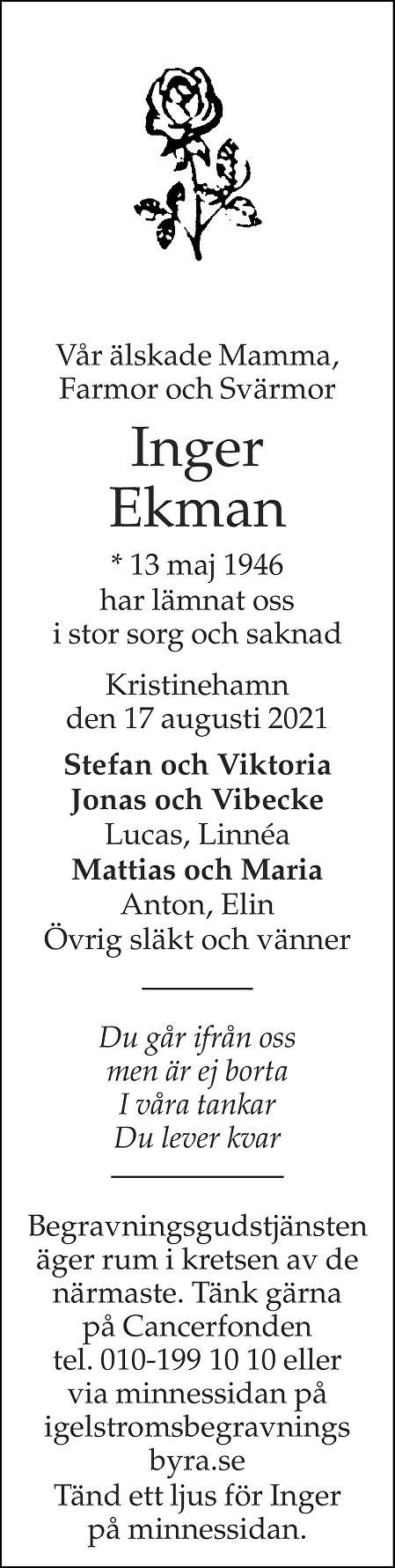 Inger Ekman Death notice