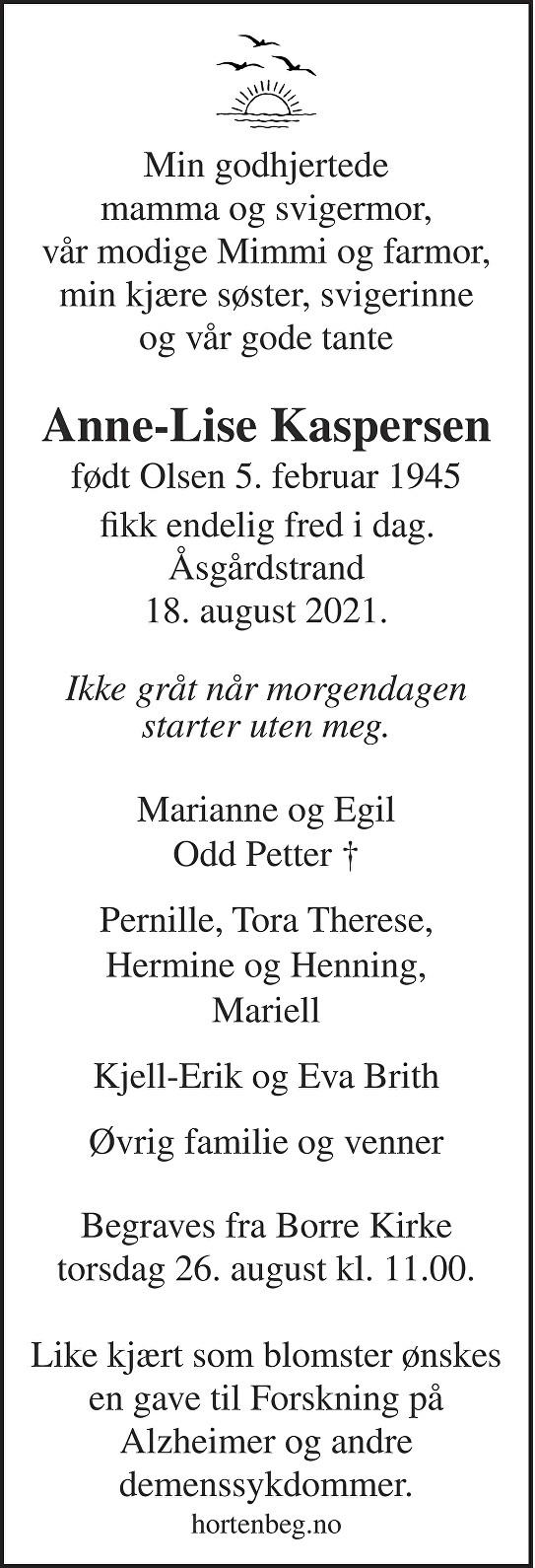 Anne-Lise Kaspersen Dødsannonse
