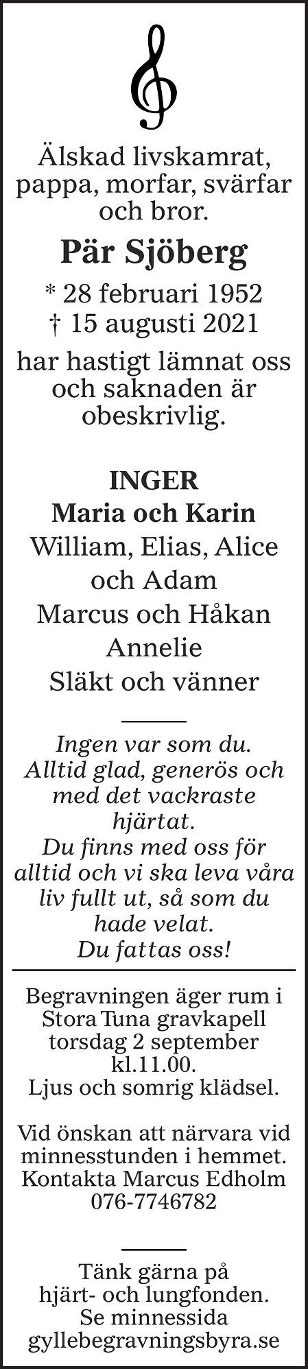 Pär Sjöberg Death notice