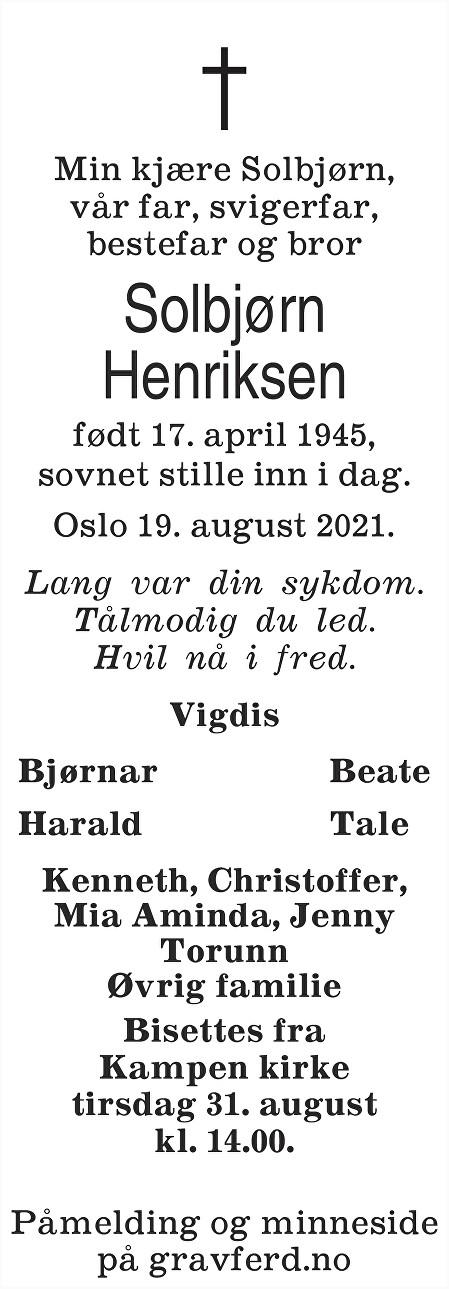 Solbjørn Henriksen Dødsannonse