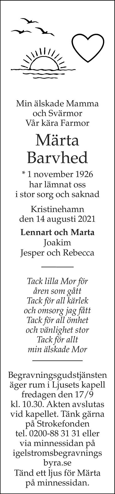 Märta Barvhed Death notice