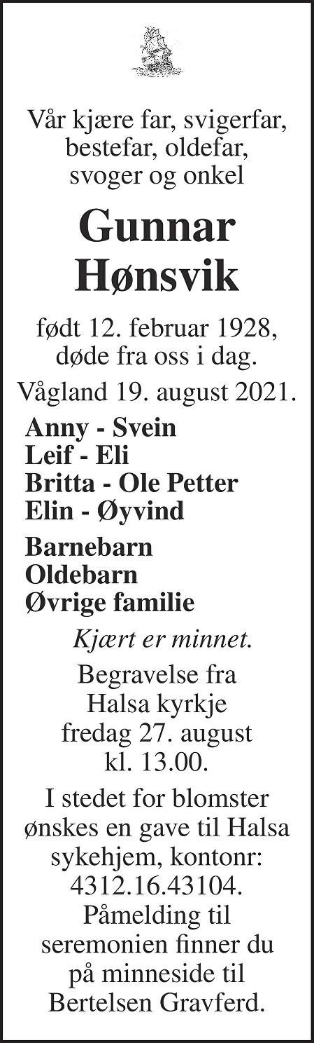 Gunnar Hønsvik Dødsannonse
