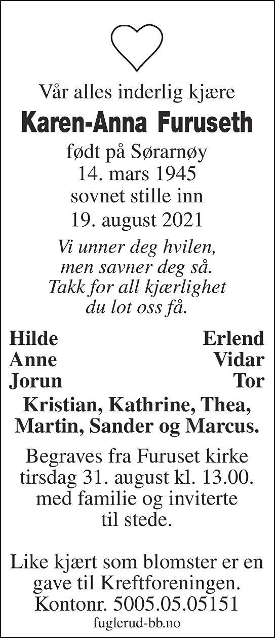 Karen-Anna Furuseth Dødsannonse