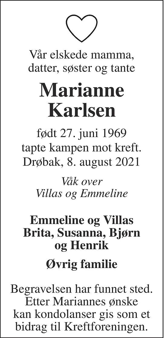 Marianne Karlsen Dødsannonse