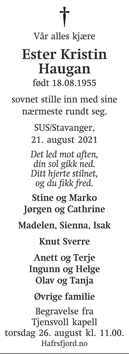 Ester Kristin Haugan Dødsannonse
