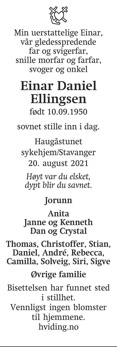 Einar Daniel  Ellingsen Dødsannonse