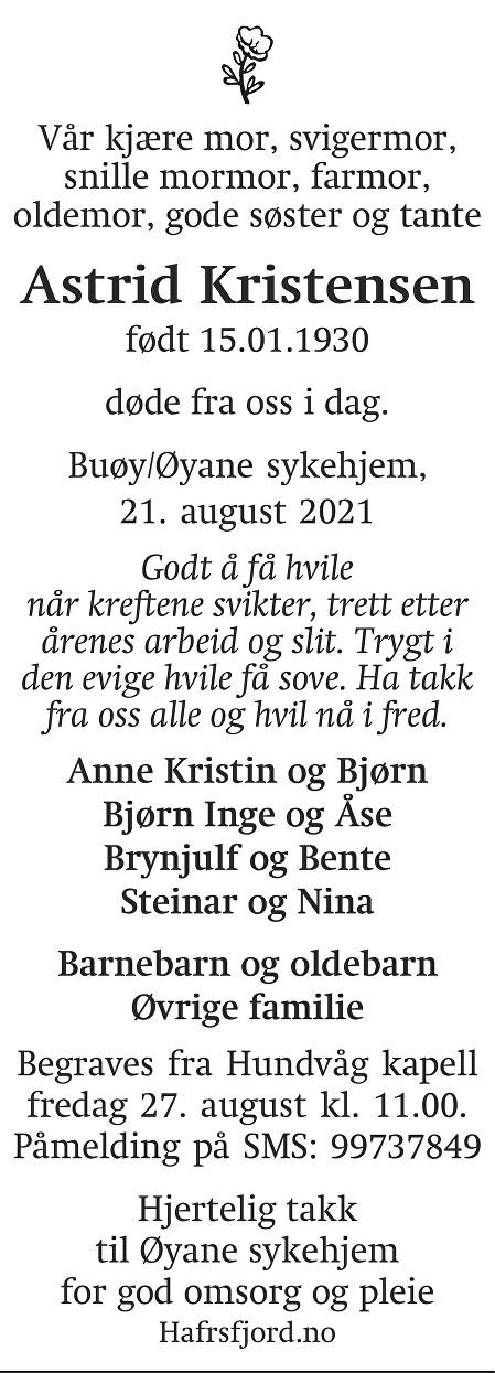 Astrid Kristensen Dødsannonse