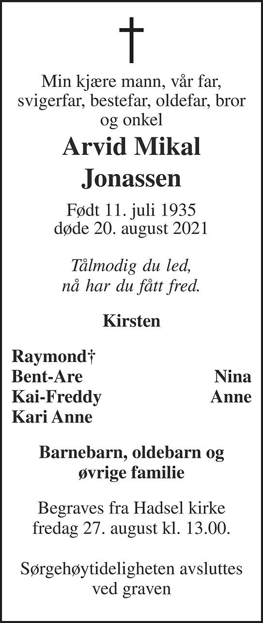 Arvid Jonassen Dødsannonse