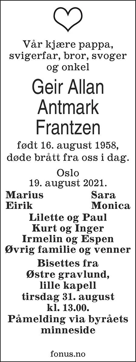 Geir Allan Frantzen Dødsannonse