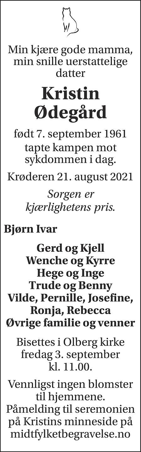 Kristin Ødegård Dødsannonse
