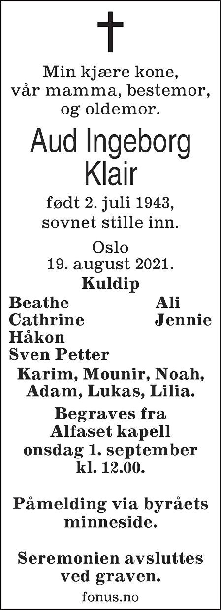 Aud Ingeborg Klair Dødsannonse