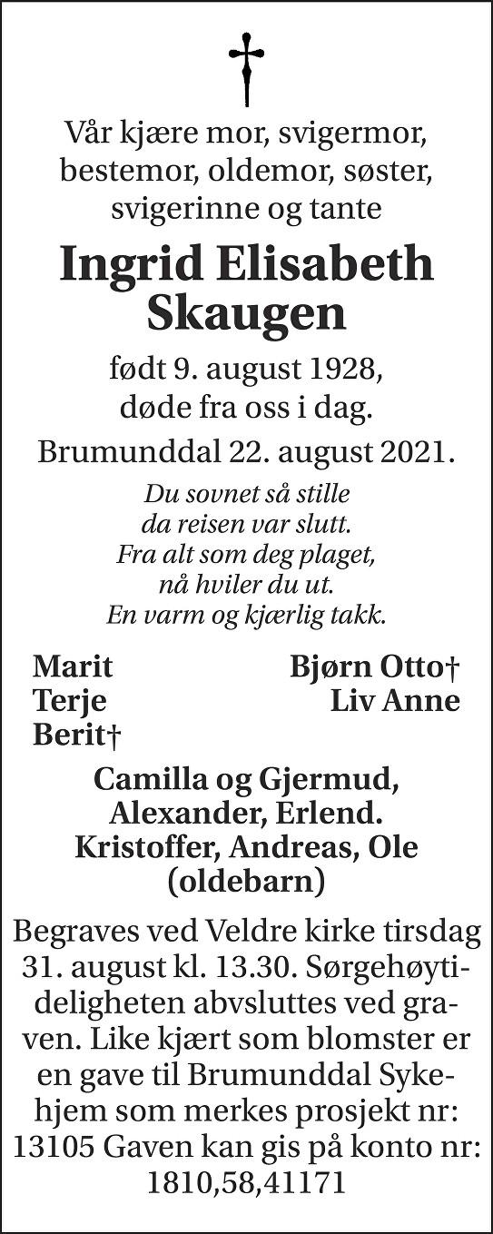 Ingrid Elisabeth Skaugen Dødsannonse