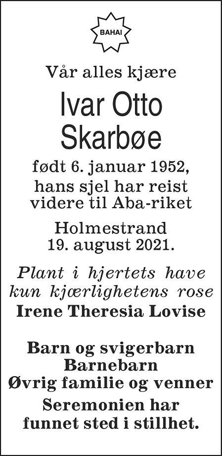 Ivar Otto Skarbøe Dødsannonse