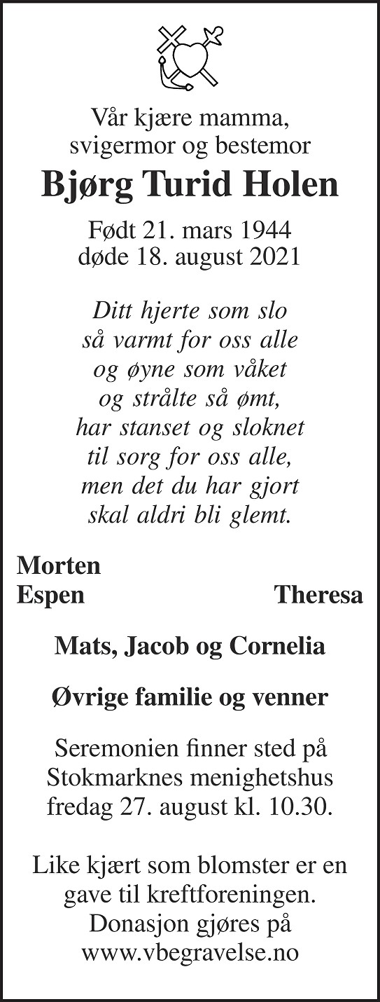 Bjørg Turid Holen Dødsannonse